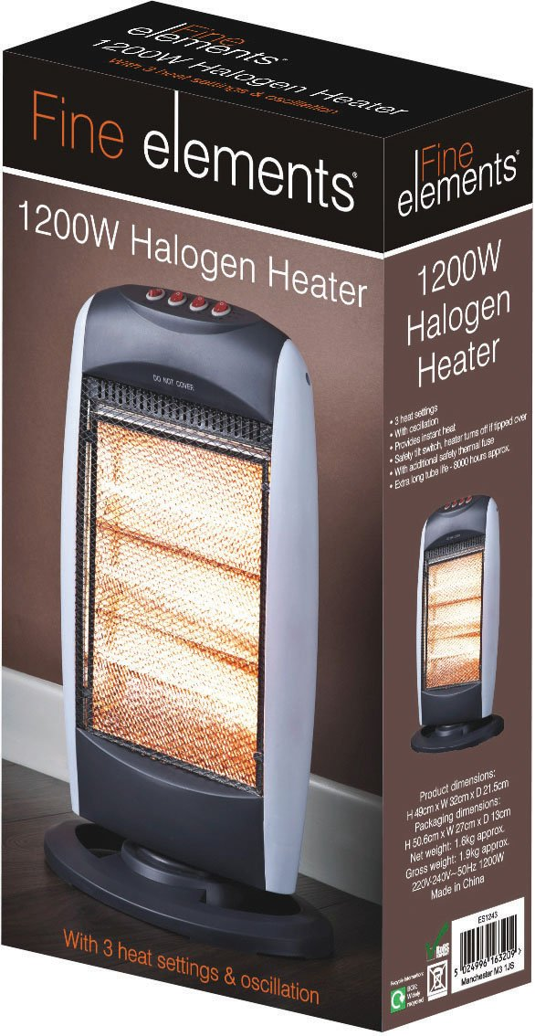 Fine Elements Halogen Heater, 1200 Watt ES1243