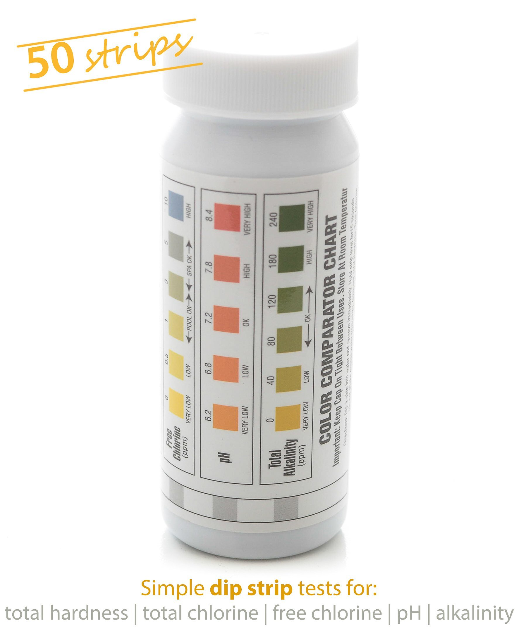 Milliard 50 Count 5 in 1 Spa and Pool Water Test Strips/Kit, Essential for Maintaining Water Chemistry - Easy, Quick and Efficient by Milliard