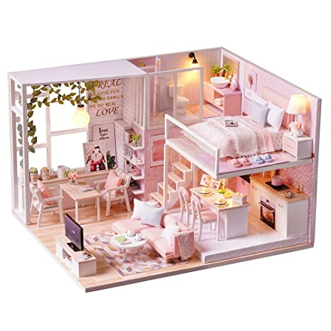 Spilay DIY Miniature Dollhouse Wooden Furniture Kit,Handmade Mini Modern  Apartment Model With Dust Cover