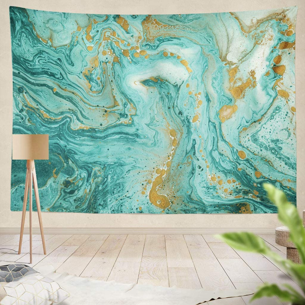 Amazon Com Onelz Decor Collection Green Gold Beautiful Abstract Golden And Turquoise Bedroom Living Room Dorm Wall Hanging Tapestry 60 L X 80 W Polyester Polyester Blend Home Kitchen