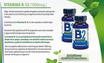 Amazon.com: Vitamina B12 de alta potencia, 1000mcg, set de 2 frascos con 100 tabletas c/u. Combate anemia, fatiga, aumenta la energia, revitaliza el sistema ...