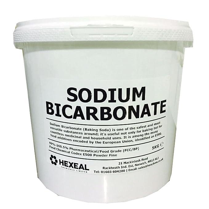Hexeal SODIUM BICARBONATE of Soda | 5KG BUCKET | 100% BP/Food Grade | Bath,  Baking, Cleaning