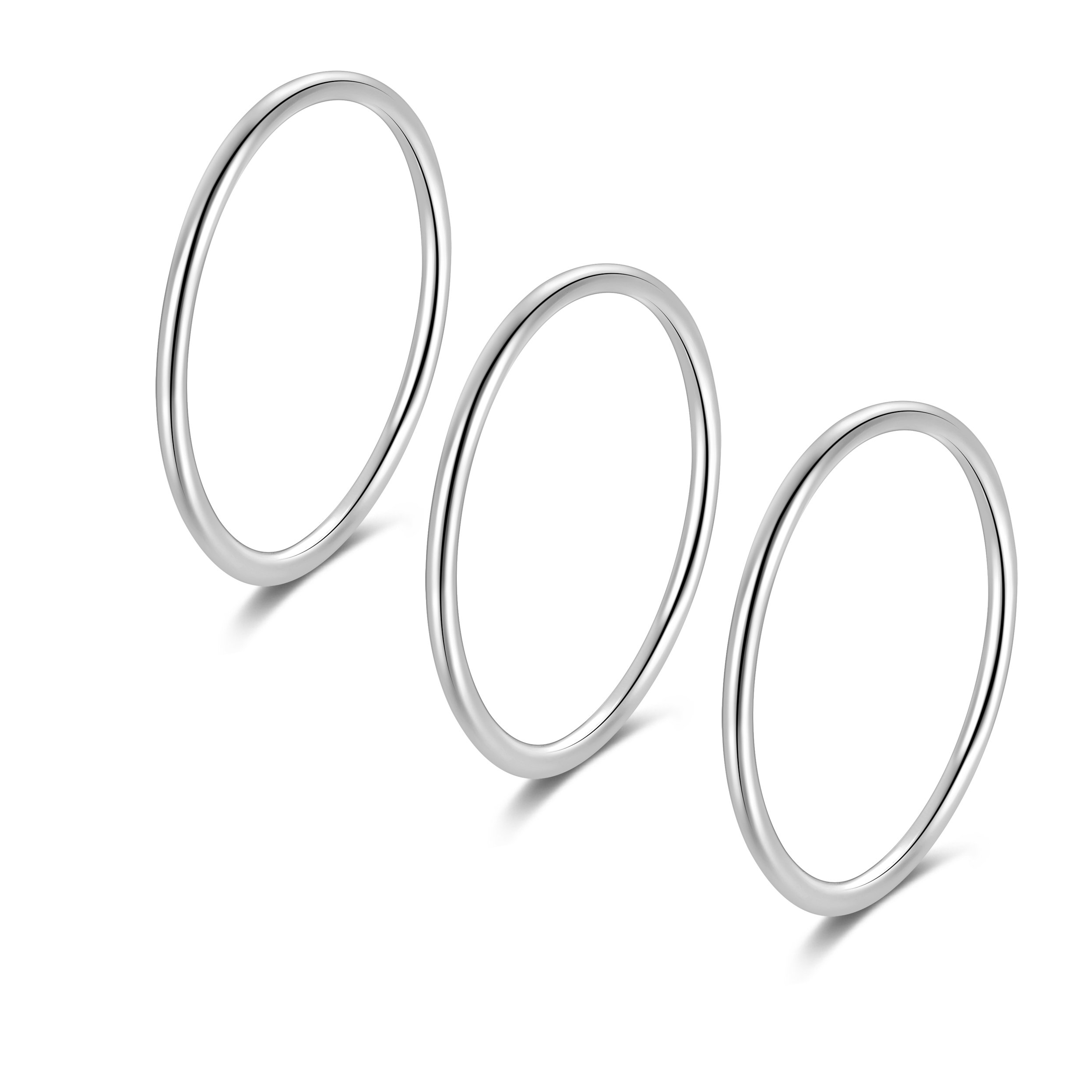 Silbertale 1.2mm 925 Sterling Silver Thin Circle Ring Stacking Bands Men Women Girls Size 6 3pcs set