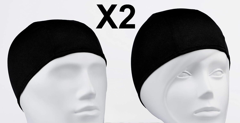 Emerpack 2X Gorro de Baño de Tela para Piscina o SPA/Gorro de Natacion Comodo y Ligero de Tejido Poliester para Adulto Hombre o Mujer Unisex/Talla Unica Punto Negro Liso