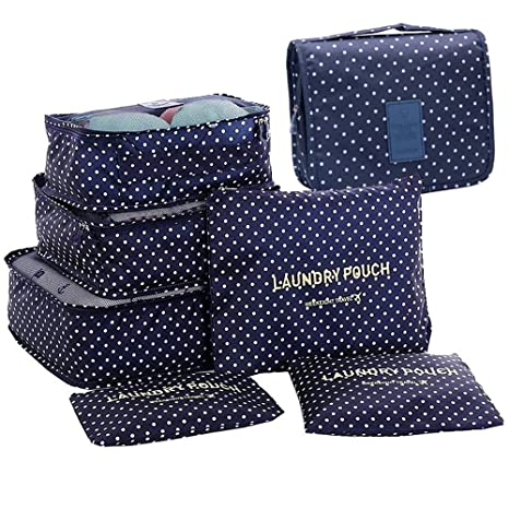 GCBTECH Set de 7 Organizadores de viajes cubo de viaje Bolsas de compresión de equipaje, Viajar Bolsas de aseo, bolsa de cosmético del maquillaje ...