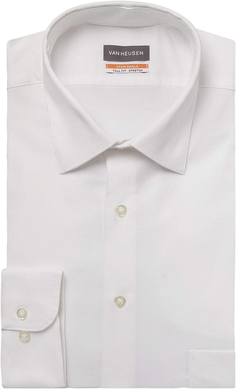 NEW Van Heusen Men's TALL FIT Dress Big Translated Stain Shield Stretch Shirt