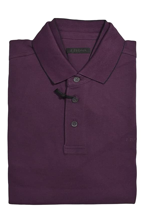 fd9c9c5906 Z ZEGNA Men's Purple Pique Inner Collar 100% Cotton Short Sleeve ...