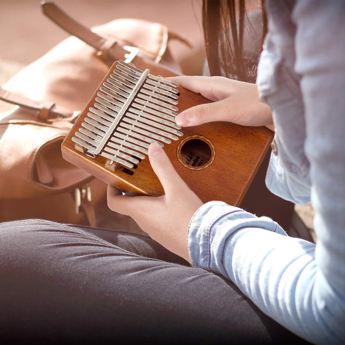 Kalimba 17 Key Finger Piano Marib Mahogany with Padded Gig Bag Tuner Hammer By Kmise by Kmise (Image #9)
