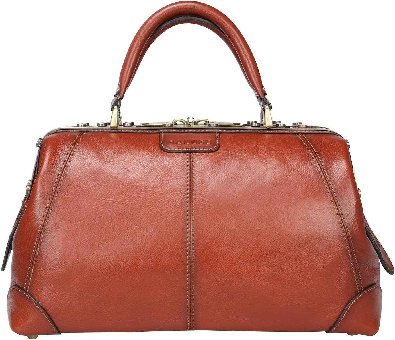 Edwardian Gloves, Handbags, Hair Combs, Wigs Banuce Vintage Full Grains Italian Leather Doctor Bag for Women Men Briefcase Business Handbag Medical Bag Purse $209.99 AT vintagedancer.com