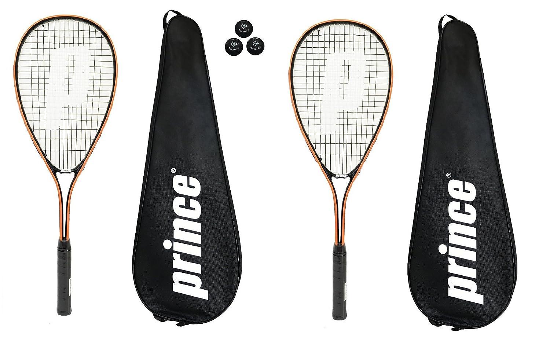 2 x Prince Power Vortex Ti Squash Rackets + Covers + 3 Squash Balls