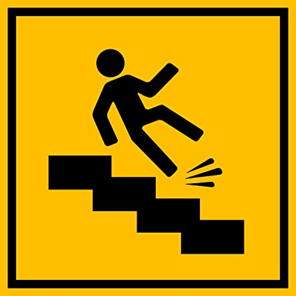 amazon com slippery stairs warning sign black image on a yellow 12