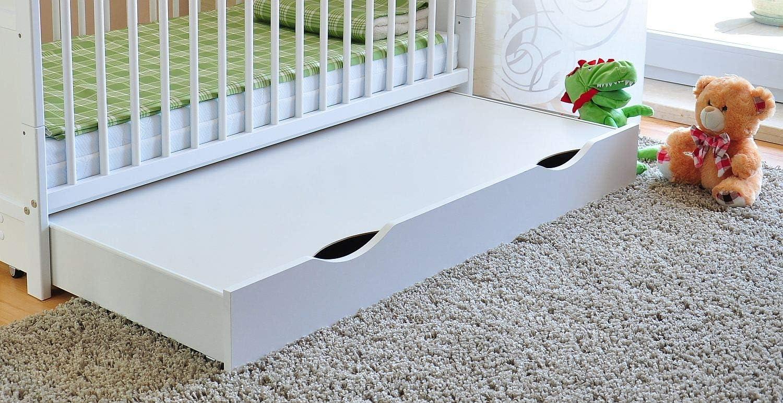con colch/ón de espuma de aloe vera altura regulable Cuna con caj/ón y tapa para cuna convertible en cama infantil color blanco rieles dentados