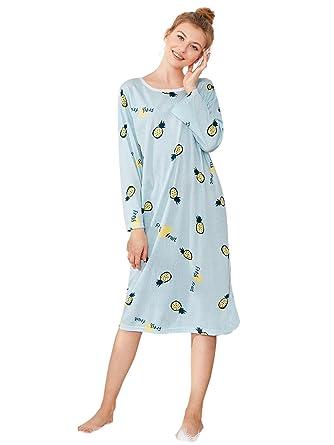 SweatyRocks Women s Cotton Pajamas Long Sleeve Nightgown Pineapple Print  Tee Striped Sleep Dress Blue Medium 6ff38482f