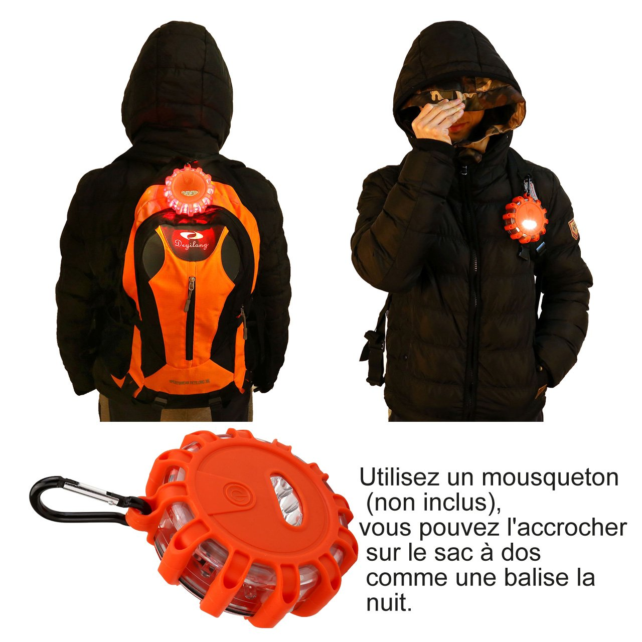 Lot de 3 avec Sac de Rangement Imperm/éable IP65 ACBungji Gyrophare Orange LED Voiture Auto Route Clignotant Avertisseur Lumineux Signal Urgence Lumi/ère Avertissement Base Magn/étique