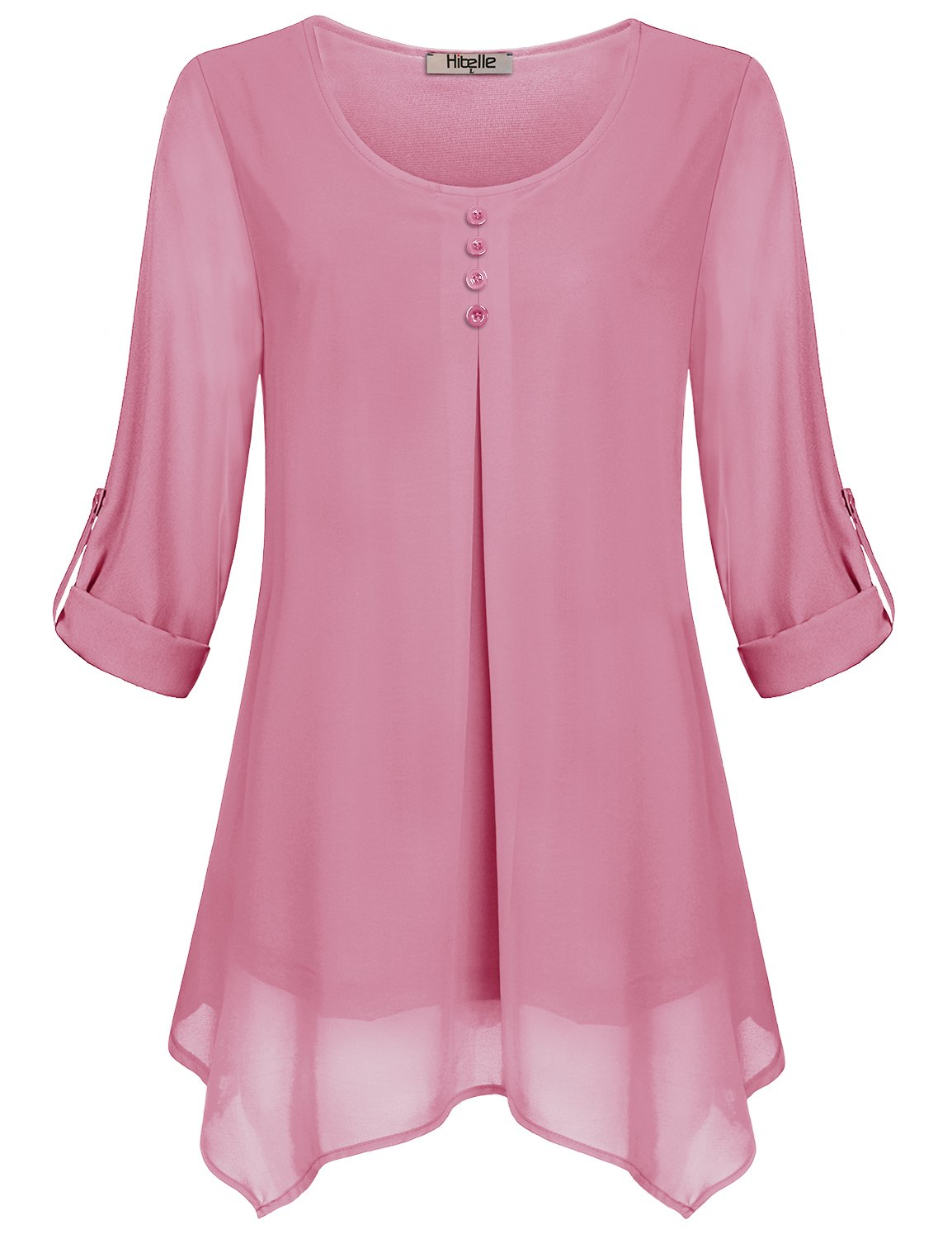 Hibelle Layered Shirts for Women, Ladies Dressy Blouses Business Casual Tops Flowy Flattering Chiffon Tunics Cuffed Sleeve Roll up Going Out Summer Clothing Fashion 2018 Pink 2XL