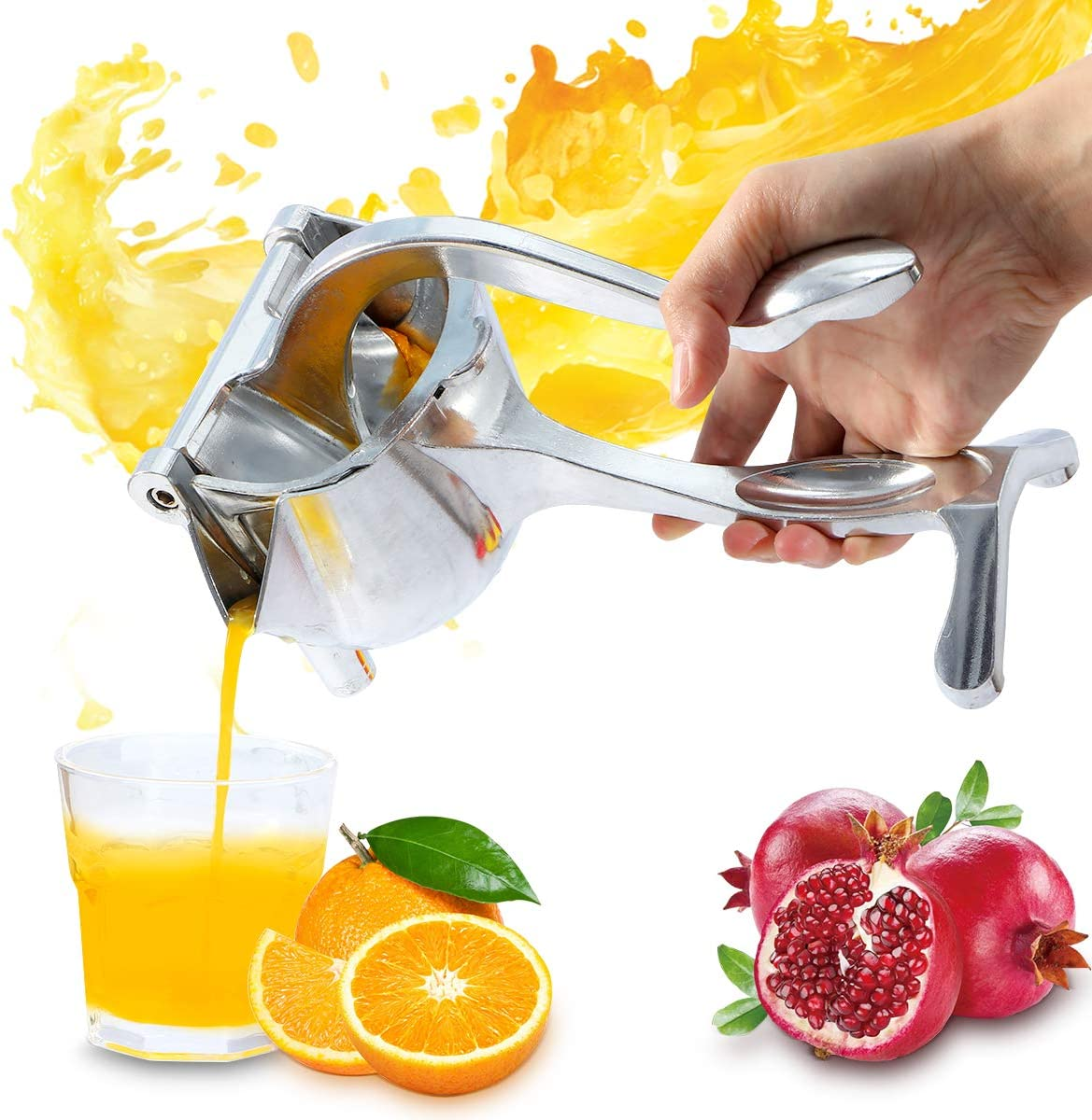 Manual Fruit Juicer Citrus Lemon Squeezer Orange Lime Hand Juicer, Heavy Duty Aluminum Metal, High Juice Yield Fruit Press Squeezer for Pomegranate Watermelon Strawberry Grapefruit,with Filter Bag