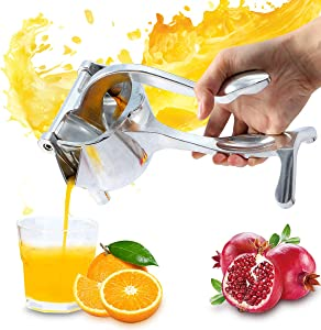 Manual Fruit Juicer Citrus Lemon Squeezer Orange Lime Hand Juicer, Heavy Duty Aluminum Metal, High Juice Yield Fruit Press Squeezer for Pomegranate Watermelon Strawberry Grapefruit,with Filter Bag