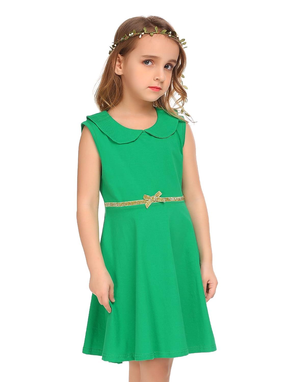 Amazon.com: Arshiner Little Girls Sleeveless Doll Collar Pleated A ...