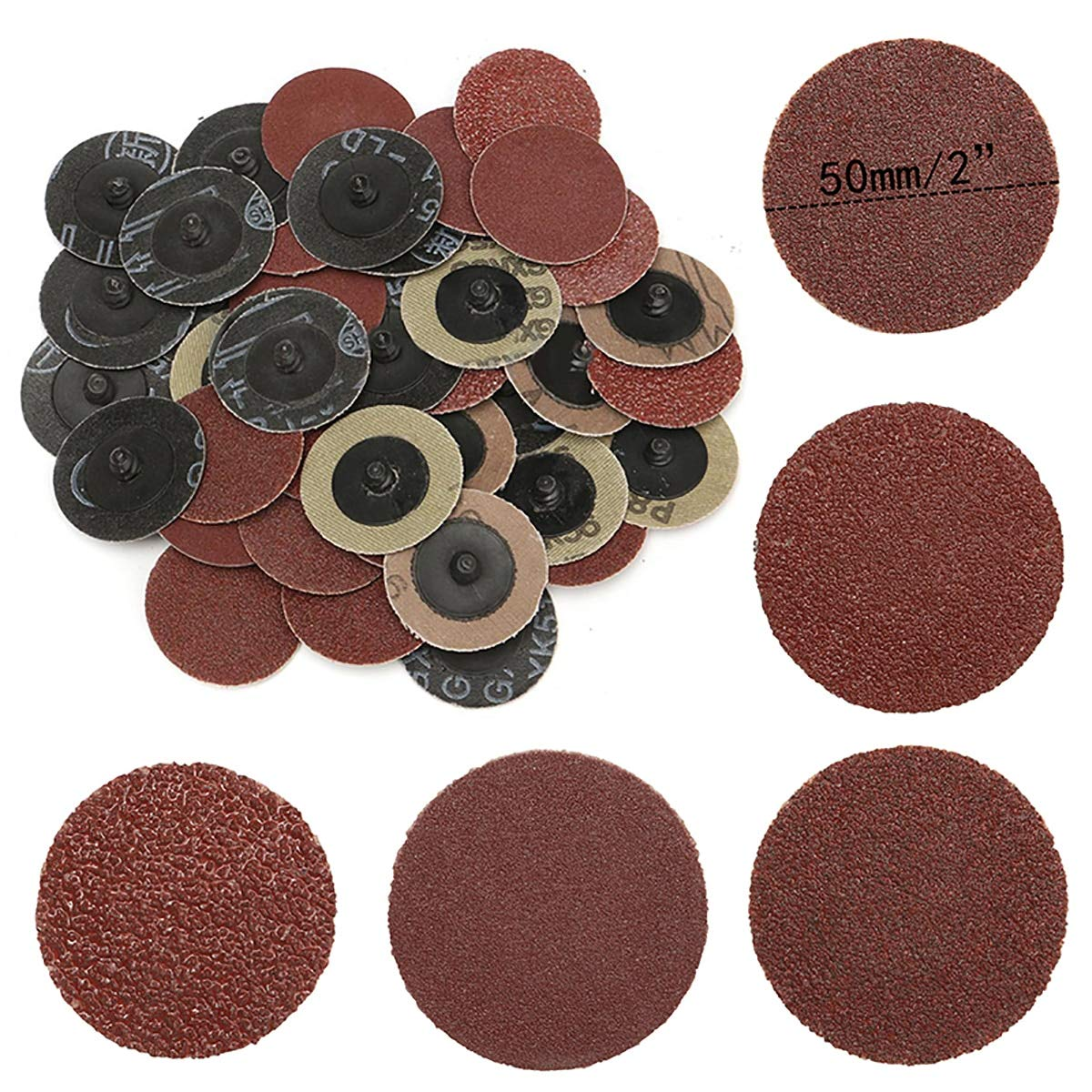 2 Inch 40pcs Hook And Loop 40 80 120 240 Grit Sand Paper Sanding Discs