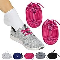 Vive - Cordones elásticos para zapatos sin atar (par rosa) - Cordones de repuesto planos para hombres, mujeres, deportes…