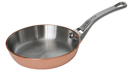 De Buyer 6424.10 InocuivreMini Sartén para Blinis de cobre y acero inoxidable con