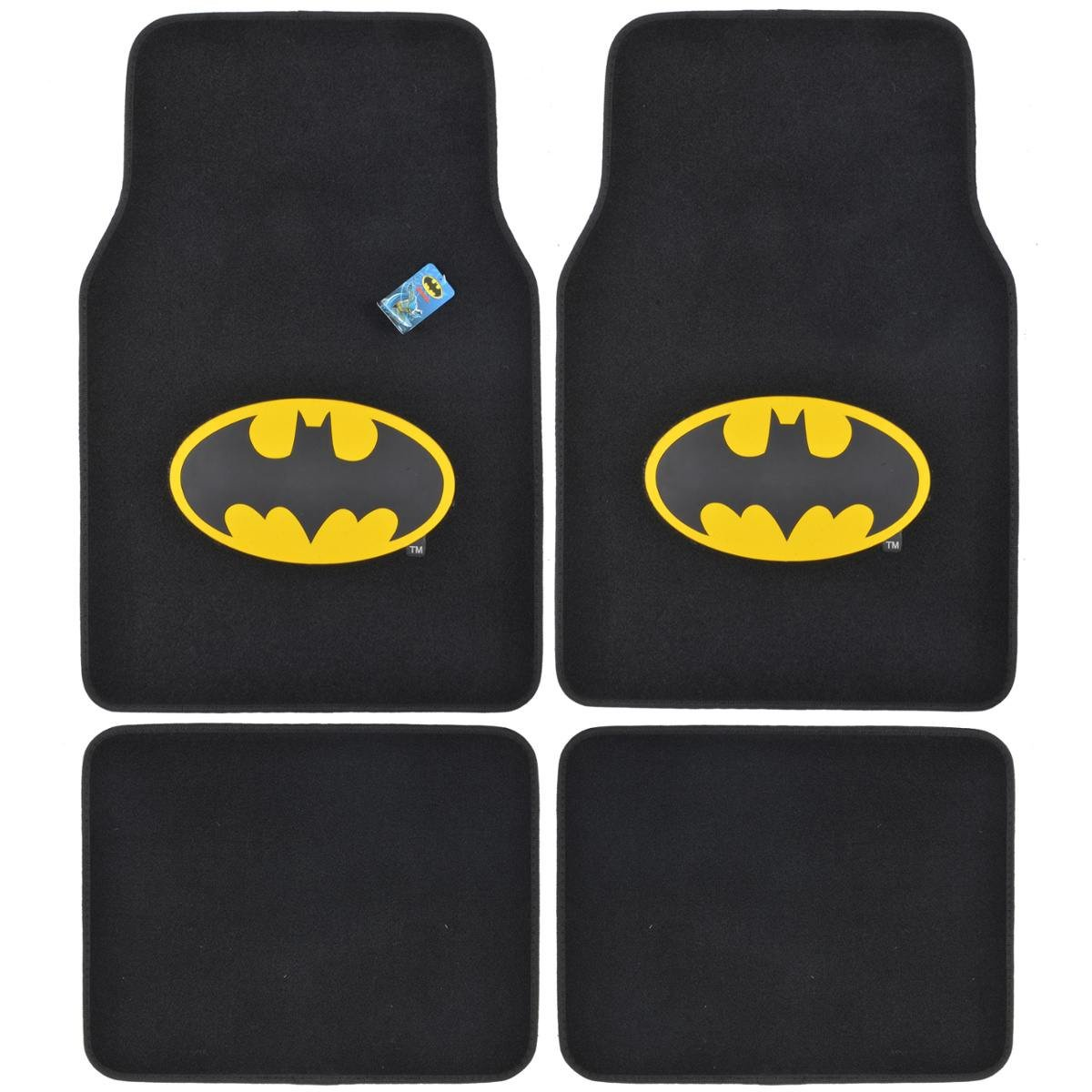 Amazon BDK WBMT 1301 Batman Carpet Car Floor Mats Black Yellow Logo
