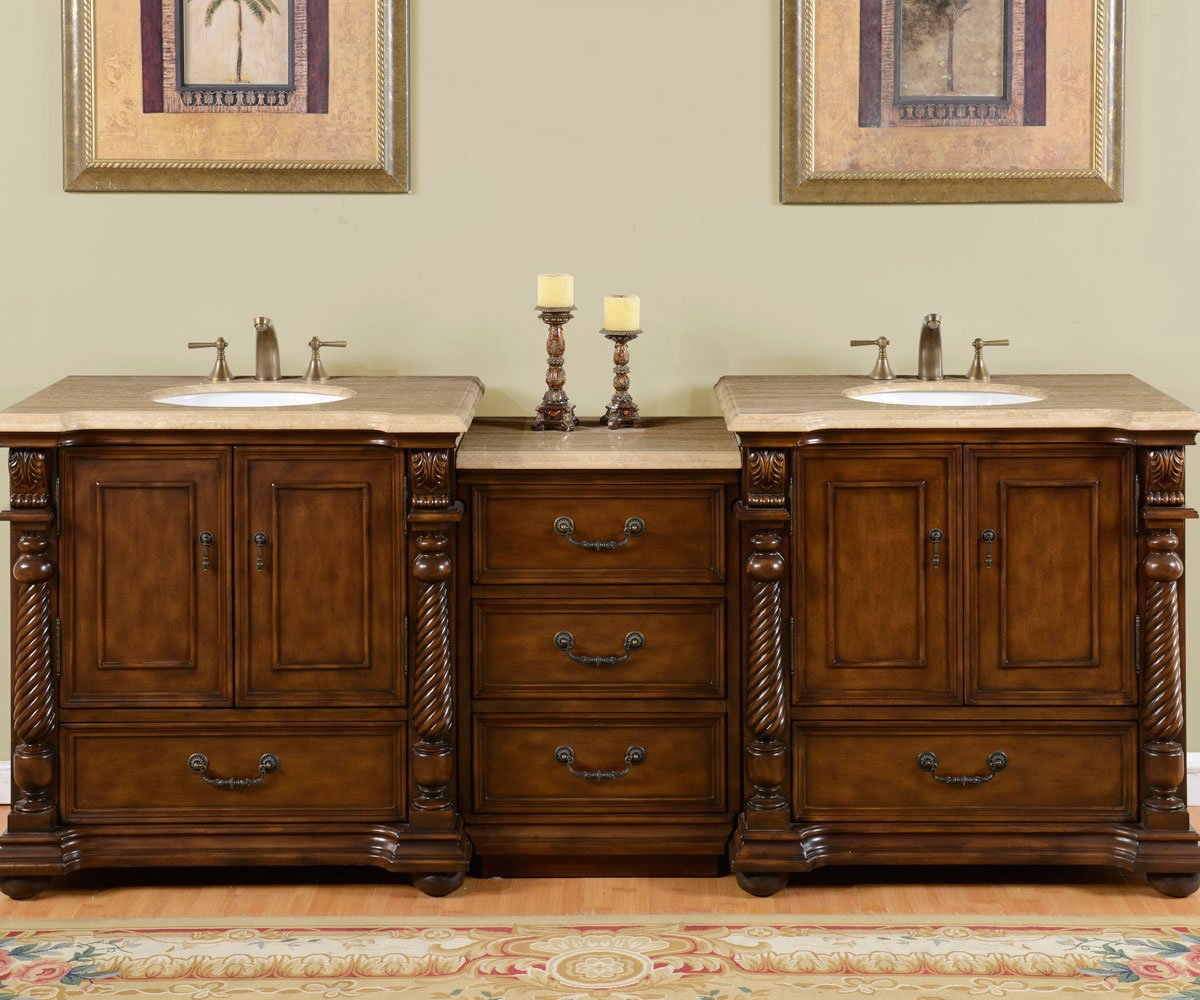 Silkroad Exclusive Countertop Travertine Stone Double Sink Bathroom Vanity with Modular Cabinet, 92-Inch by Silkroad Exclusive