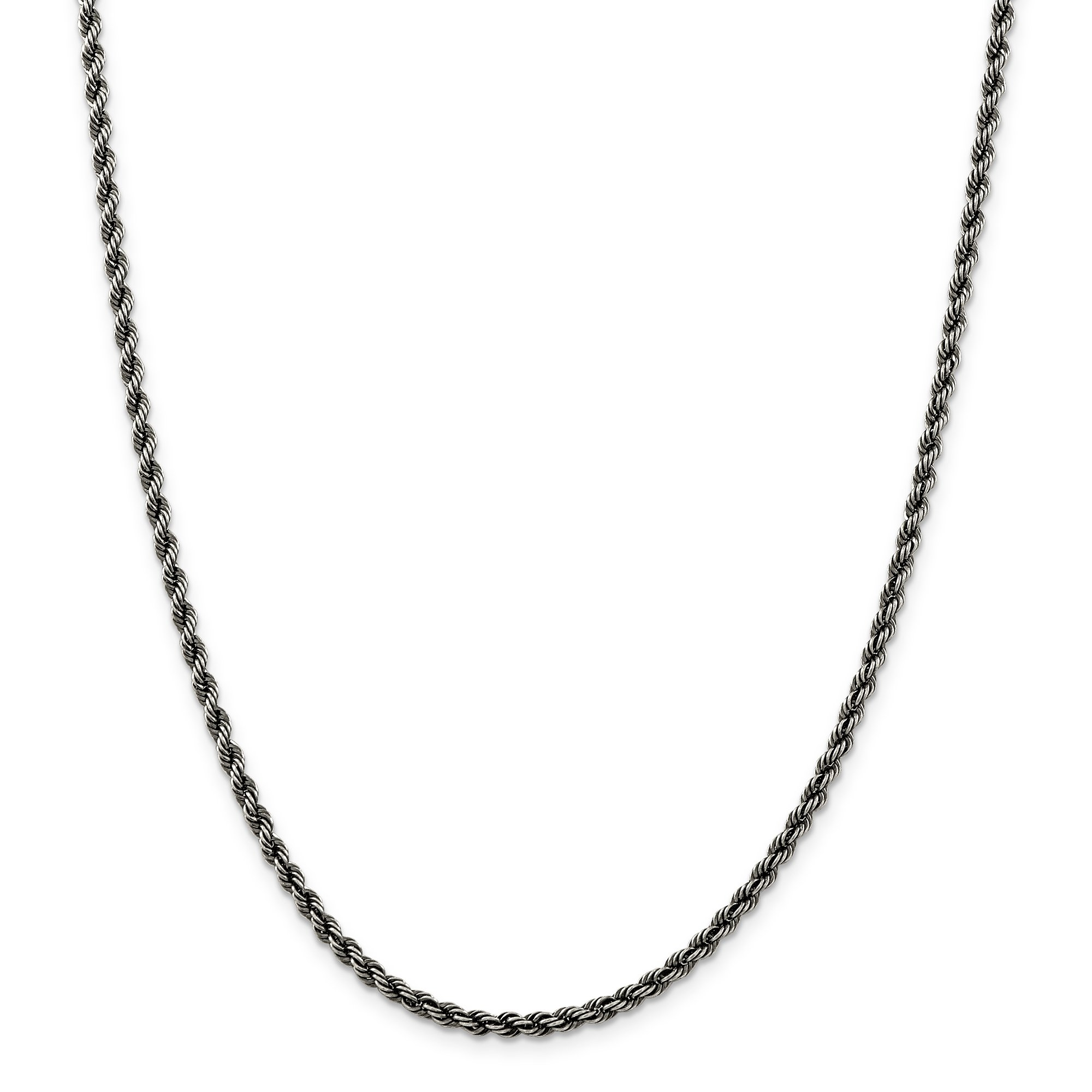ICE CARATS 925 Sterling Silver Ruthenium 3mm Link Rope Chain Necklace 24 Inch Fine Jewelry Gift Set For Women Heart