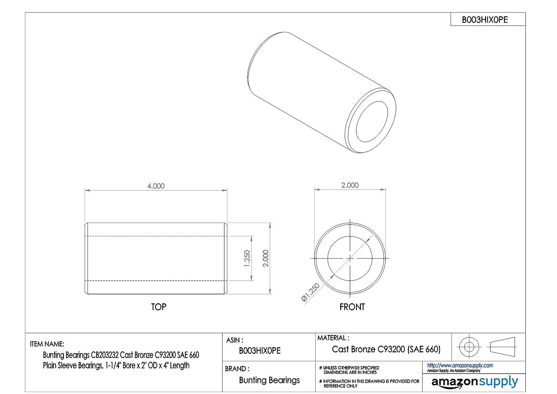 Bearings Plain Bunting Bearings CB314040 Sleeve Cast Bronze C93200 1-15//16 Bore x 2-1//2 OD x 5 Length 1-15//16 Bore x 2-1//2 OD x 5 Length CB314040A1 SAE 660