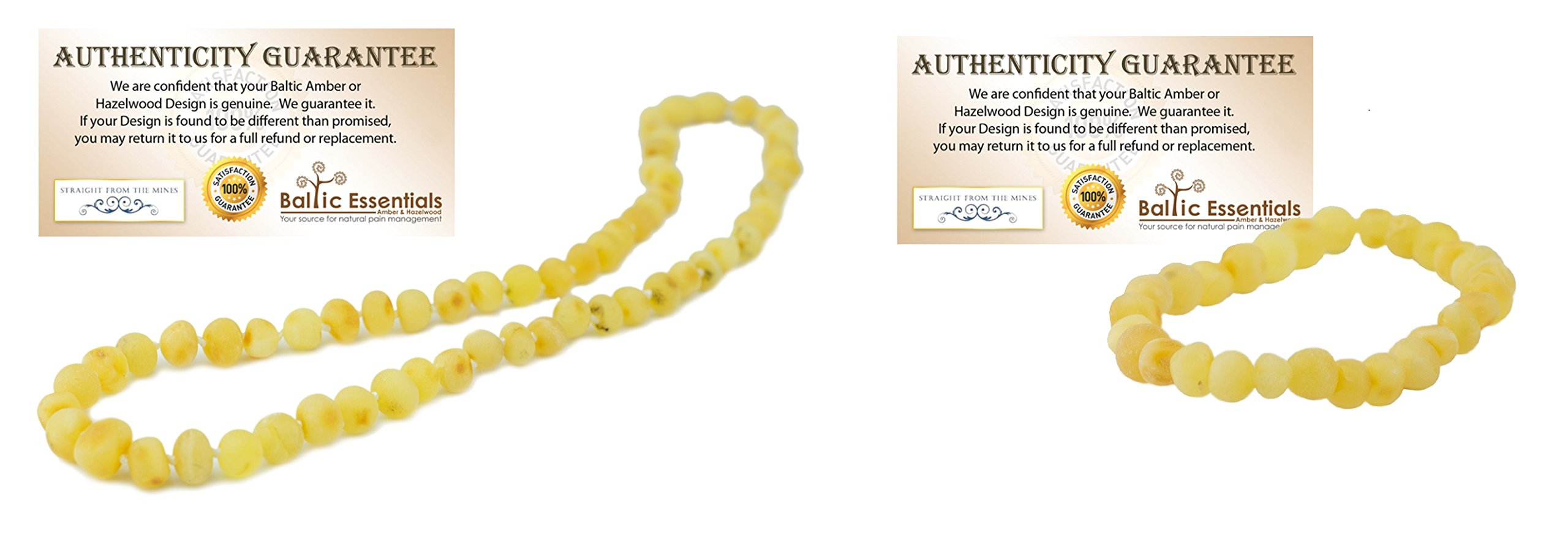 Baltic Essentials 11 Inch Raw Lemon Amber Necklace, Screw clasp Teething Necklace for Infant, Baby Drooling & Teething, Growing pains, Reduce Properties -Natural Certified (Necklace-Bracelet-SET)