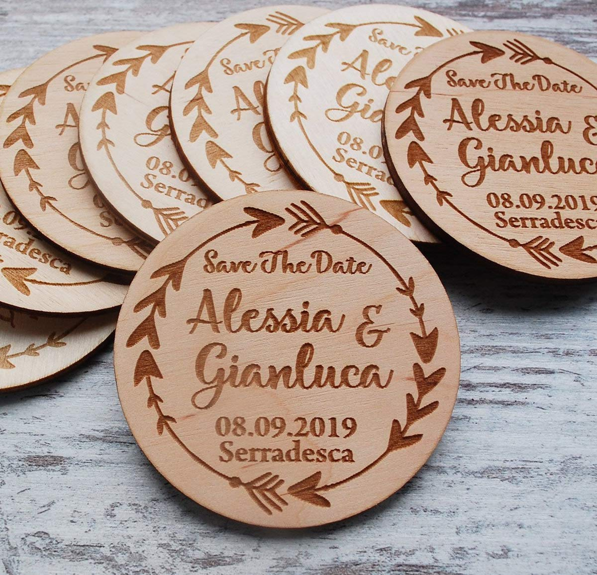 50Pcs Round Wooden Wedding Magnets, Boho Save The Date Magnet Wood Custom Save The Dates Rustic Wedding Invitation Wooden Magnets Wedding Favor Tags Thank You Gift