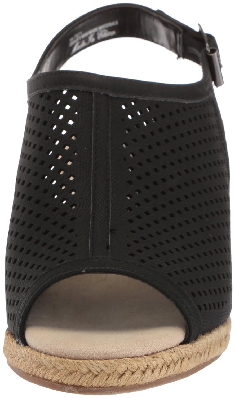Easy Street Women's Stacy Wedge Sandal B077ZG21SJ 7 2W US|Black Linen Print