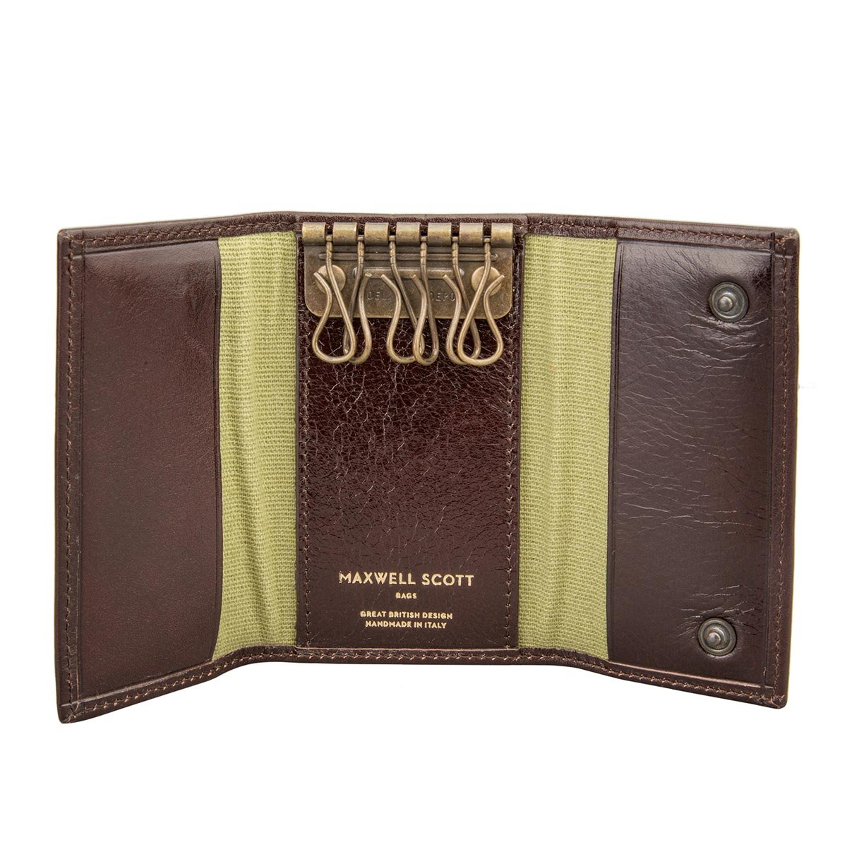 Maxwell Scott Personalized Luxury Brown Leather Key Case Wallet - One Size (The Lapo)