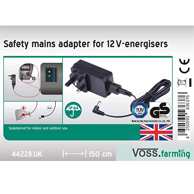 3.2 J // 9600 V Dual-Power Fencer Mains Adapter Not Included VOSS.farming Electric Fence Energiser Helos 4 |12 V Battery//Mains