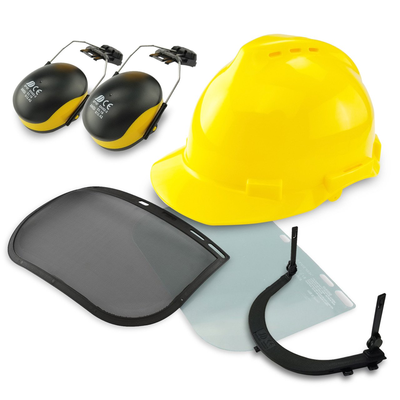 Neiko 53880A 4-in-1 Safety Helmet with Hearing and Face Protection, Heavy Duty Hard Hat | Removable Ear Muffs and Visors by Neiko (Image #8)