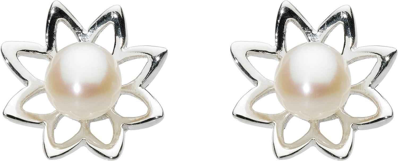 Dew 38347FP011 - Pendientes de plata de ley con perla con cierre de mariposa a presión
