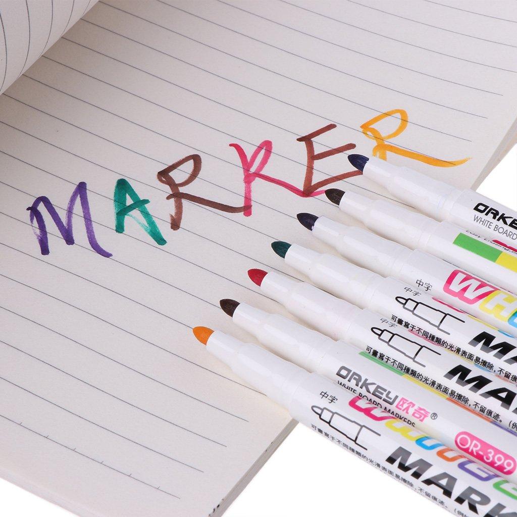 Lailongp Rotulador de pizarra blanca de 12 colores, rotulador de borrado en seco no tóxico con letrero, punta fina, material escolar