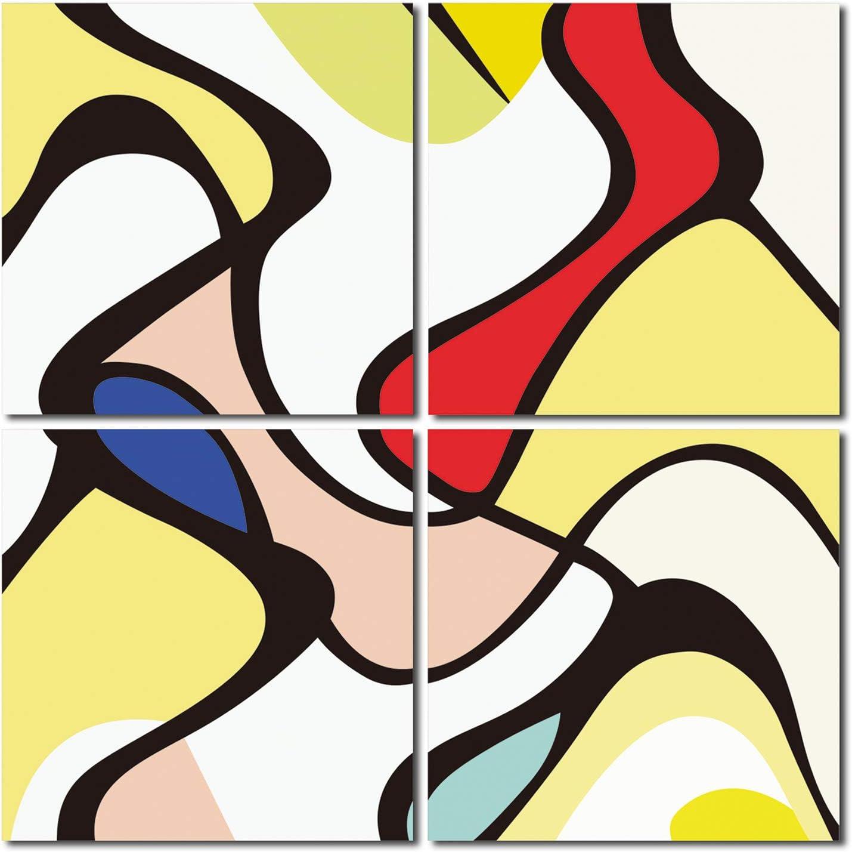 Juego de 4 cuadros decorativos abstractos de arte moderno con ...