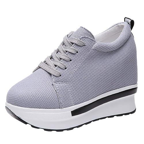 Graceful-Get Connected, Zapatillas para Mujer Moda Casual Lona Plataforma Gruesa con Cordones CuñAs Zapato De Trabajo Zapatos para Damas: Amazon.es: Zapatos ...