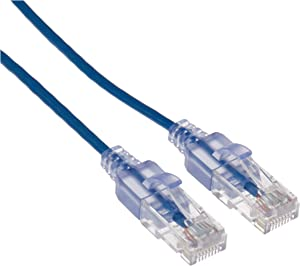 Monoprice Cat6A Ethernet Patch Cable - 50 Feet - Blue (10 Pack) Network Internet Cord, Snagless RJ45 UTP Pure Bare Copper Wire 10G 30AWG - SlimRun Series