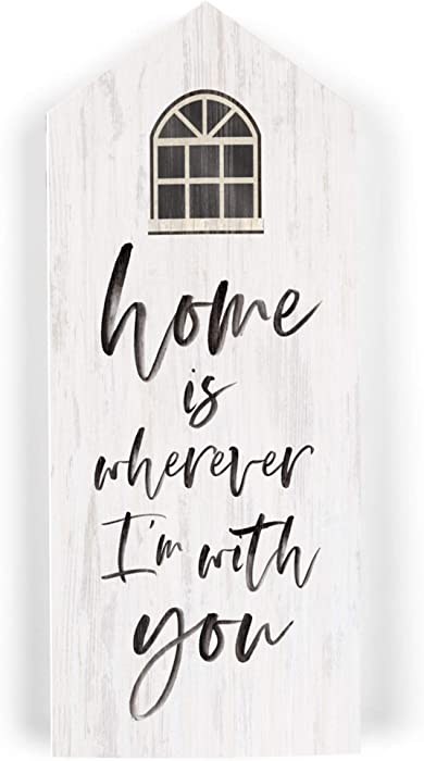 P. Graham Dunn Home is Wherever I'm with You Whitewash House Shaped 3.5 x 8 Inch Pine Wood Block Tabletop Sign