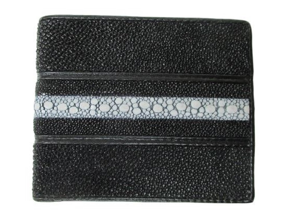 Drumsurn Imports Genuine Stingray Leather Continuous Wallet, Black
