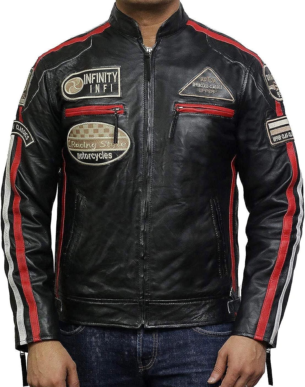 BRANDSLOCK Chaqueta de Motociclista Hombre de Cuero Genuino Cafe Racer Bomber