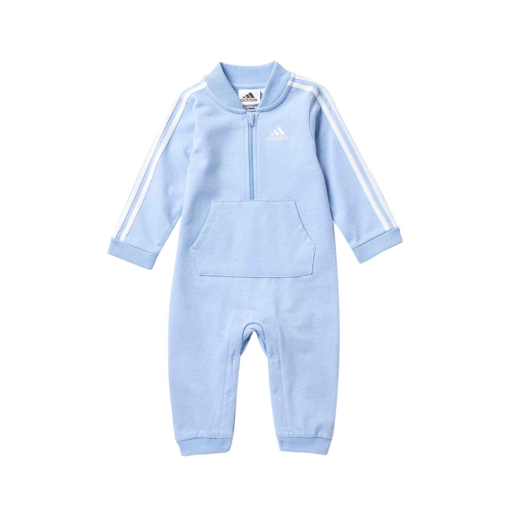 adidas Baby Boys' and Baby Girls Long Sleeve Hooded Coverall (Light Blue, 18 Months) by adidas
