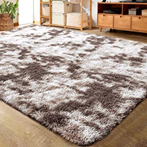LOCHAS Luxury Velvet Shag Area Rug Modern Indoor Fluffy Rugs, Extra Comfy and Soft Carpet, Abstract Accent Rugs for Bedroom Living Room Girls Kids Dorm Home Decor, 5x8 Feet Ivory/Light Tan