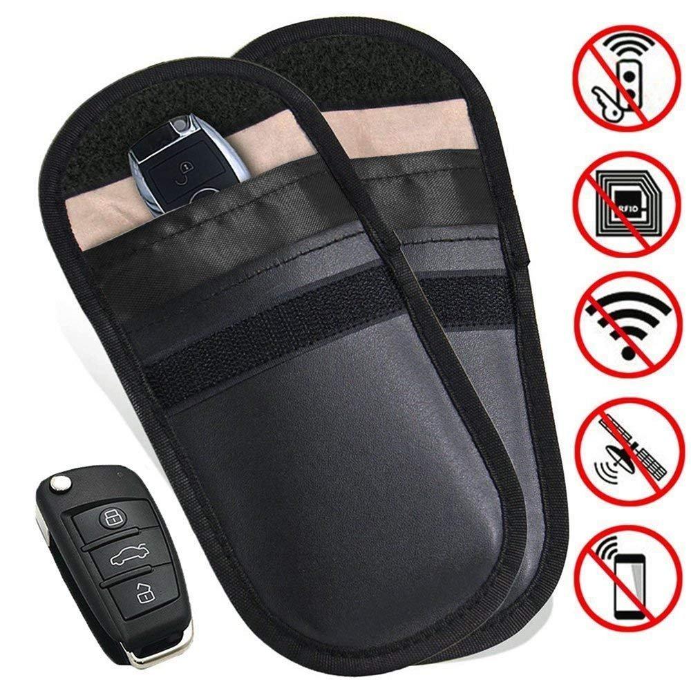 FATOON 2 x Autoschlü ssel-Signalblocker-Schutzhü lle, Schlü sselloser Einstieg, Signalblockierung, Tasche, Diebstahlschutz, fü r Gesunde Handys, Privatsphä re, WiFi/GSM/LTE/NF/RF-Blocke