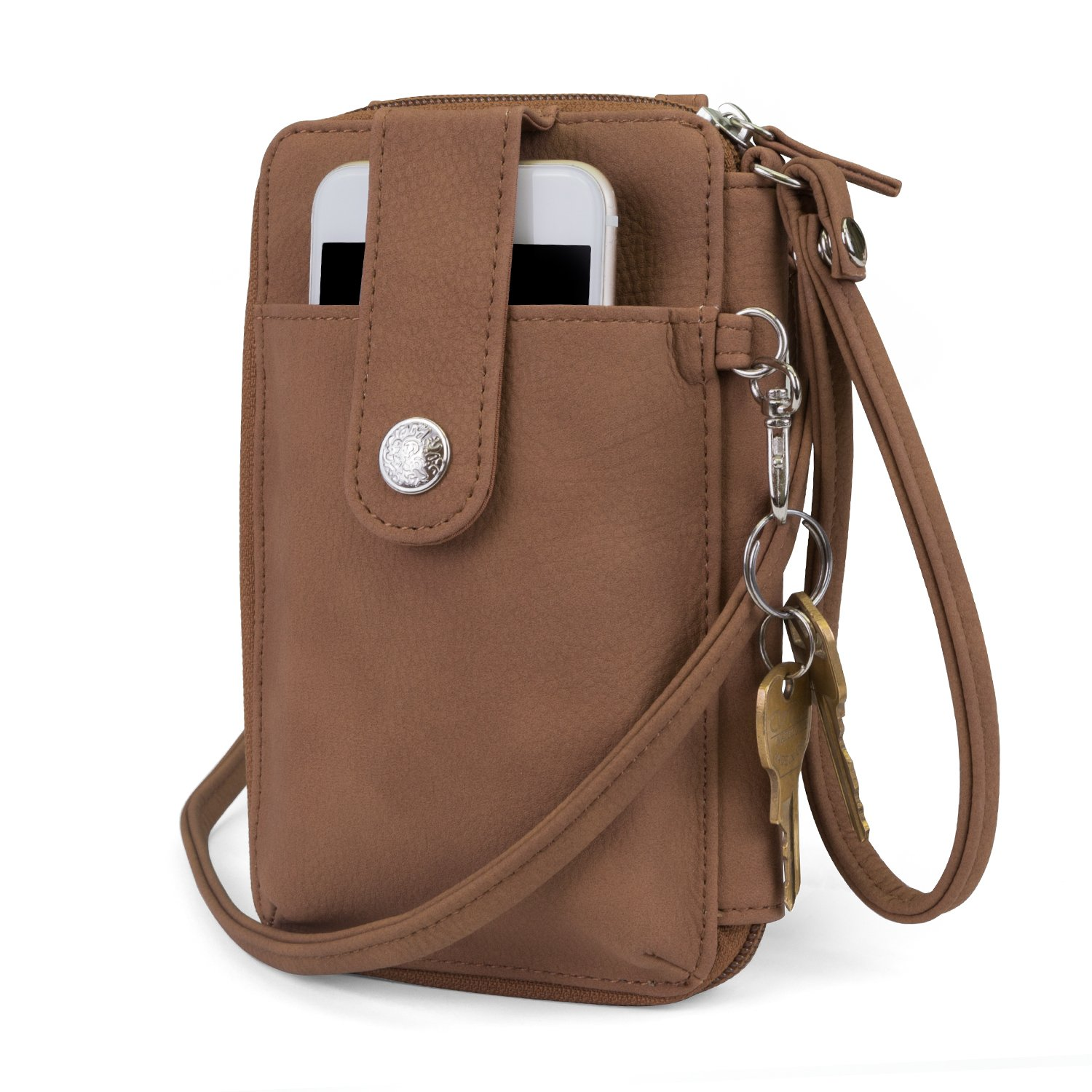 Mundi Jacqui Vegan Leather RFID Womens Crossbody Cell Phone Purse Holder Wallet (Brown Sugar)