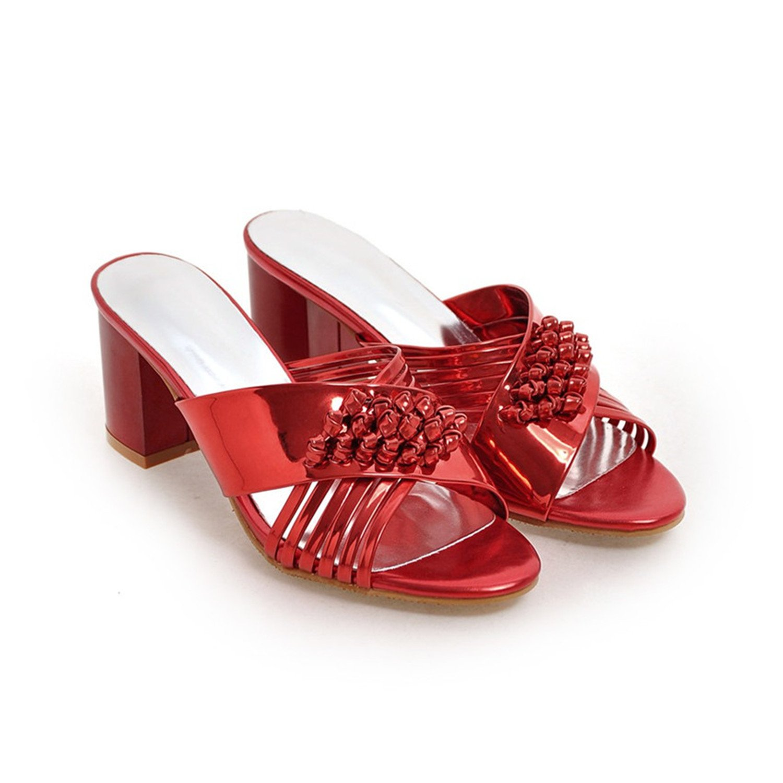 Aworth Peep Toe Women High Heel Sandals Shoes Woman High Heels Ladies Gladiator Sandals Pumps Plus Size 34-40 41 42 43 B07CG4JFKX 8 B(M) US|Red