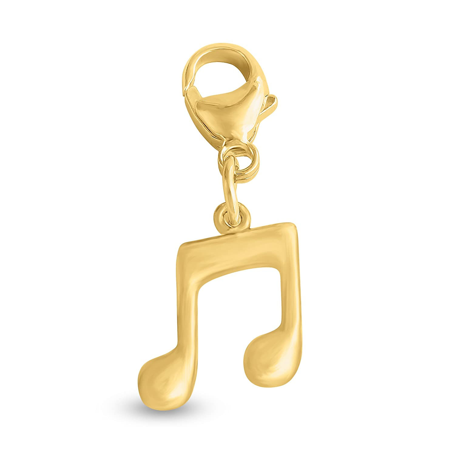 Azaggi Gold Plated Sterling Silver Handcrafted Musician Present Musical Note Pendant With Lobster Claw Clasp P0268S/_pc