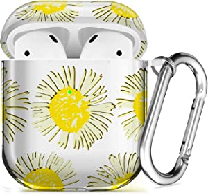 AirPods Case Soft Protective AirPod Case with Keychain [Front LED Visible] Shockproof TPU AirPod Case Cover for Apple AirPods 2 & 1 Charging Case Yellow Flower